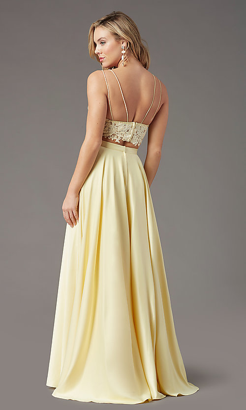 Image of PromGirl two-piece long prom dress with pockets. Style: PG-F2039 Detail Image 4