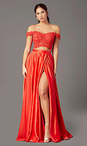 Image of PromGirl long two-piece prom dress with pockets. Style: PG-F2040 Front Image