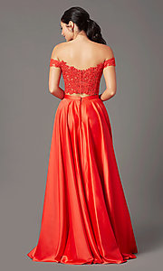 Image of PromGirl long two-piece prom dress with pockets. Style: PG-F2040 Back Image