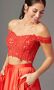 Image of PromGirl long two-piece prom dress with pockets. Style: PG-F2040 Detail Image 1