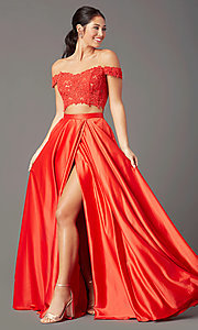 Image of PromGirl long two-piece prom dress with pockets. Style: PG-F2040 Detail Image 2