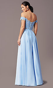 Image of PromGirl long two-piece prom dress with pockets. Style: PG-F2040 Detail Image 7