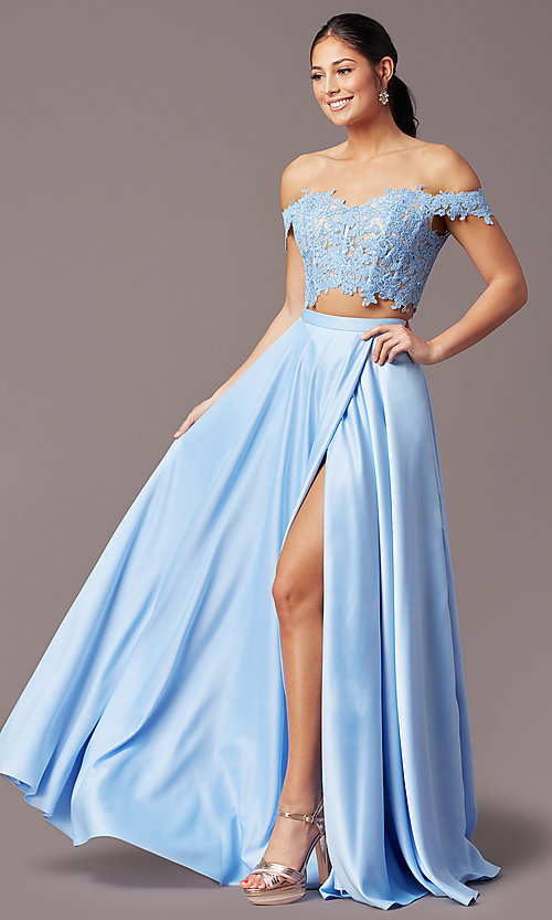 Image of PromGirl long two-piece prom dress with pockets. Style: PG-F2040 Detail Image 6
