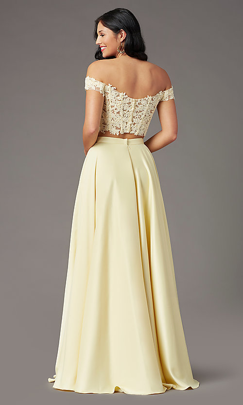 Image of PromGirl long two-piece prom dress with pockets. Style: PG-F2040 Detail Image 4