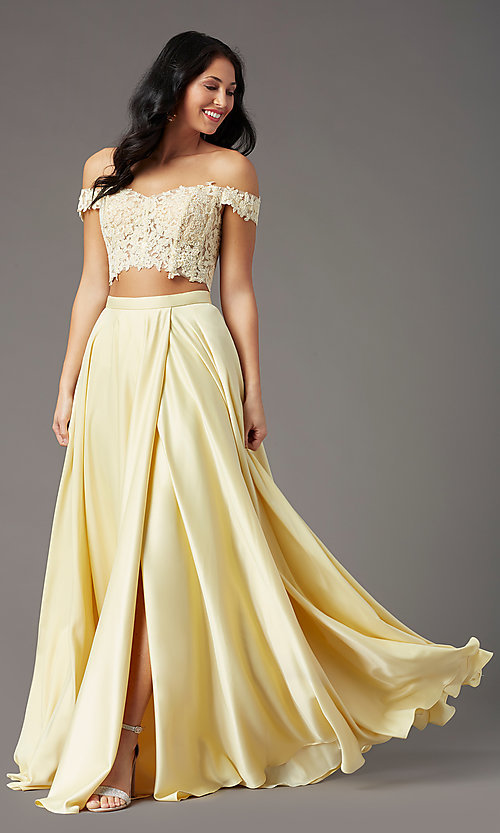 Image of PromGirl long two-piece prom dress with pockets. Style: PG-F2040 Detail Image 3