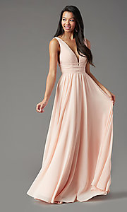 Image of long Grecian-style prom dress by PromGirl. Style: PG-F2041 Detail Image 2