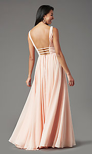 Image of long Grecian-style prom dress by PromGirl. Style: PG-F2041 Detail Image 3