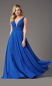 Image of long Grecian-style prom dress by PromGirl. Style: PG-F2041 Detail Image 7