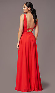 Image of long Grecian-style prom dress by PromGirl. Style: PG-F2041 Back Image