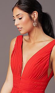 Image of long Grecian-style prom dress by PromGirl. Style: PG-F2041 Detail Image 1