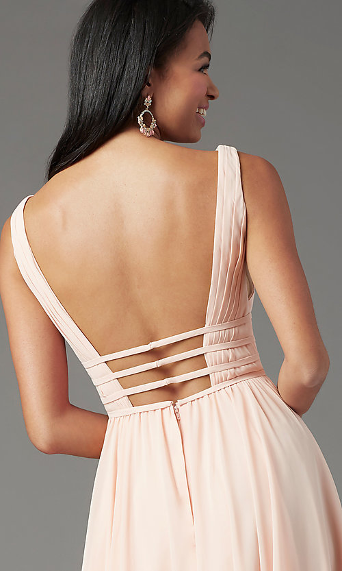 Image of long Grecian-style prom dress by PromGirl. Style: PG-F2041 Detail Image 5