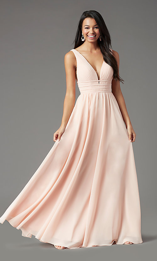 Image of long Grecian-style prom dress by PromGirl. Style: PG-F2041 Detail Image 6