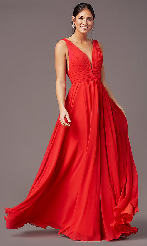 Image of long Grecian-style prom dress by PromGirl. Style: PG-F2041 Front Image