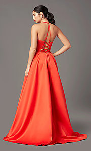 Image of long a-line faux-wrap prom dress by PromGirl. Style: PG-F2043 Back Image