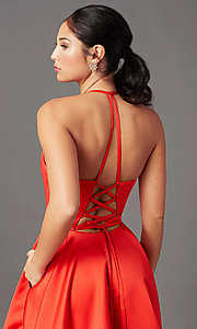 Image of long a-line faux-wrap prom dress by PromGirl. Style: PG-F2043 Detail Image 1