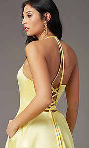 Image of long a-line faux-wrap prom dress by PromGirl. Style: PG-F2043 Detail Image 5