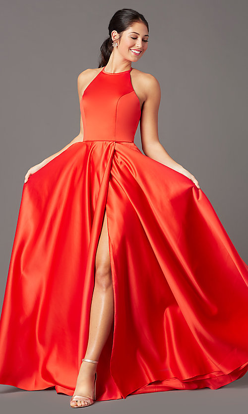 Image of long a-line faux-wrap prom dress by PromGirl. Style: PG-F2043 Front Image