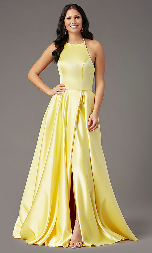 Image of long a-line faux-wrap prom dress by PromGirl. Style: PG-F2043 Detail Image 3