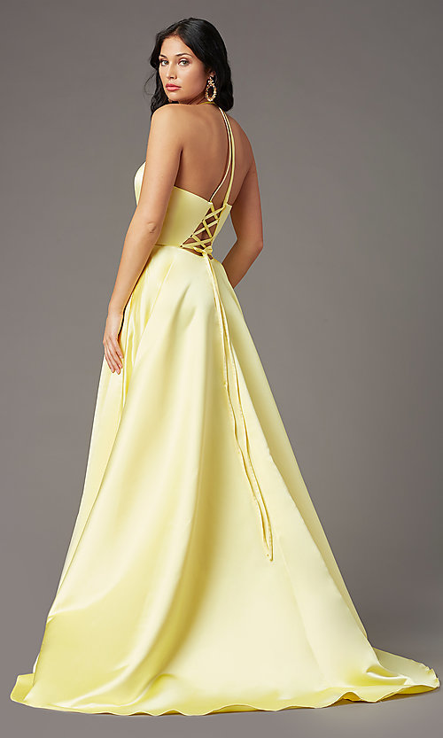 Image of long a-line faux-wrap prom dress by PromGirl. Style: PG-F2043 Detail Image 4