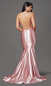 Image of long satin trumpet-style prom dress by PromGirl. Style: PG-Z20905 Detail Image 4