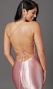 Image of long satin trumpet-style prom dress by PromGirl. Style: PG-Z20905 Detail Image 5