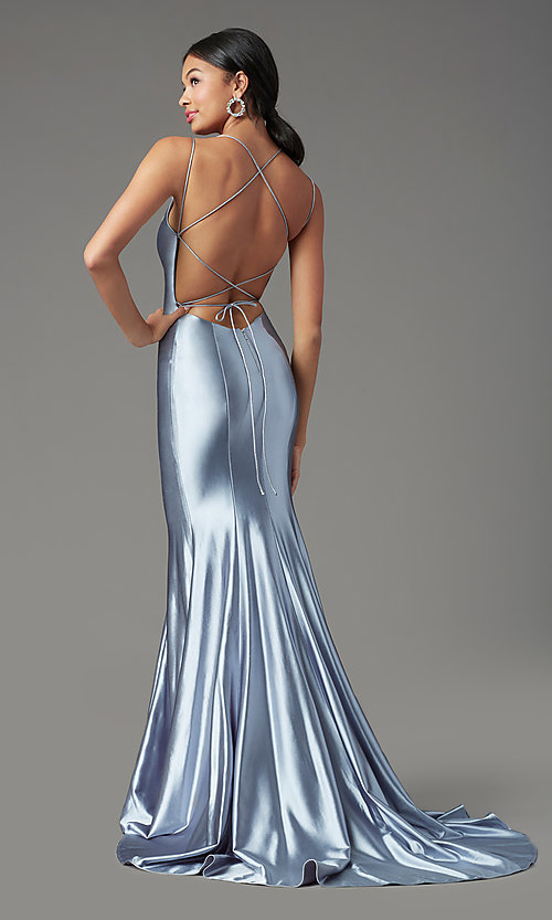 Image of long satin trumpet-style prom dress by PromGirl. Style: PG-Z20905 Front Image