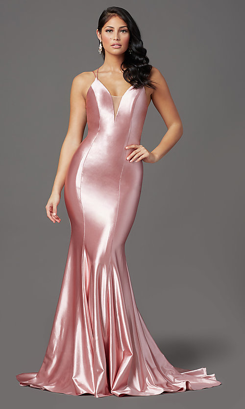 Image of long satin trumpet-style prom dress by PromGirl. Style: PG-Z20905 Detail Image 3