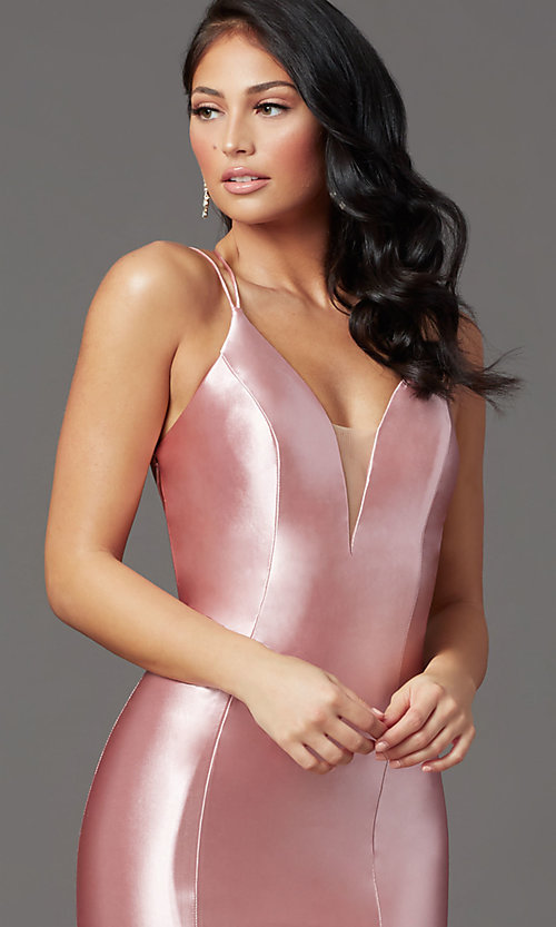 Image of long satin trumpet-style prom dress by PromGirl. Style: PG-Z20905 Detail Image 6