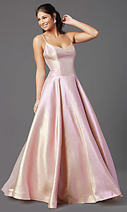 Image of PromGirl holographic-glitter long formal prom dress. Style: PG-Z20955 Front Image
