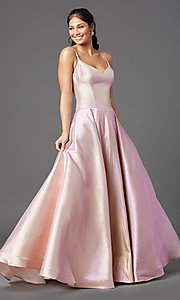 Image of PromGirl holographic-glitter long formal prom dress. Style: PG-Z20955 Detail Image 2