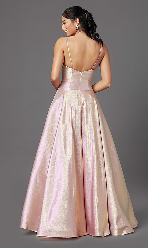 Image of PromGirl holographic-glitter long formal prom dress. Style: PG-Z20955 Back Image