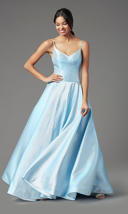 Image of PromGirl holographic-glitter long formal prom dress. Style: PG-Z20955 Detail Image 3