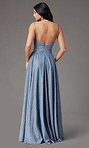 Image of long dusty blue glitter prom dress by PromGirl.  Style: PG-Z20969 Back Image