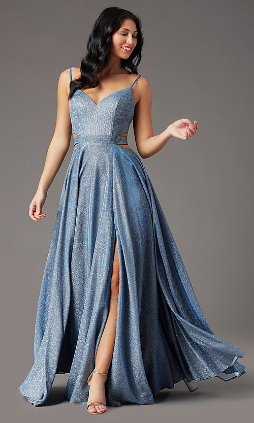 Image of long dusty blue glitter prom dress by PromGirl.  Style: PG-Z20969 Front Image