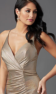Image of vintage gold long v-neck prom dress by PromGirl. Style: PG-Z20984 Detail Image 1
