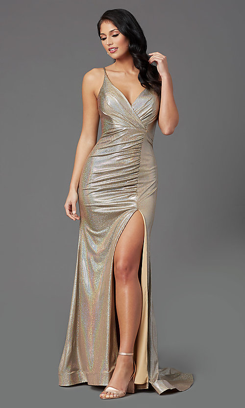 Image of vintage gold long v-neck prom dress by PromGirl. Style: PG-Z20984 Front Image