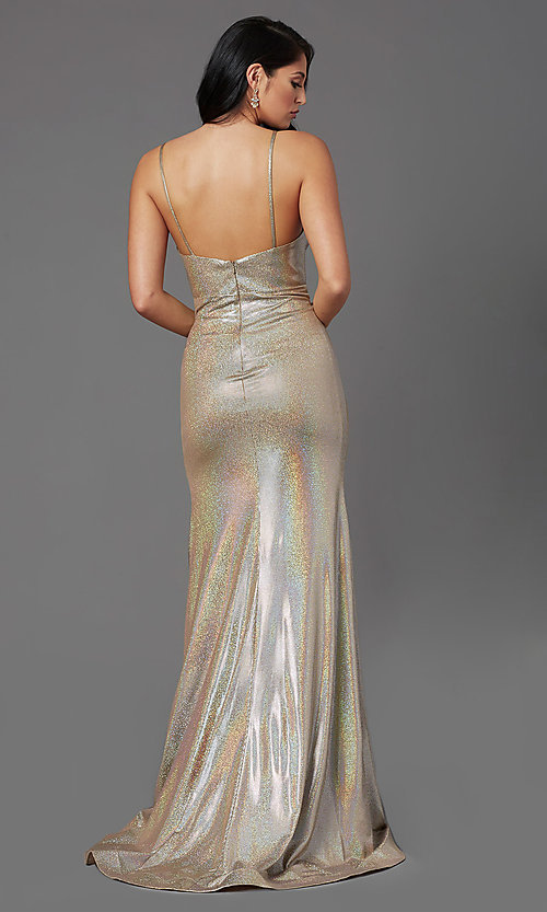 Image of vintage gold long v-neck prom dress by PromGirl. Style: PG-Z20984 Back Image