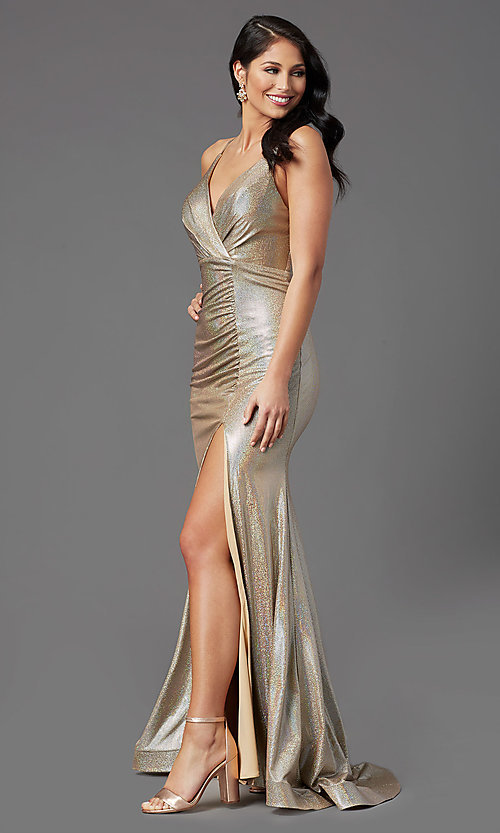 Image of vintage gold long v-neck prom dress by PromGirl. Style: PG-Z20984 Detail Image 2
