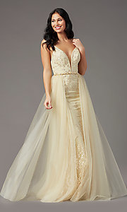 Image of long embroidered gold prom dress by PromGirl. Style: PG-Z20648 Front Image