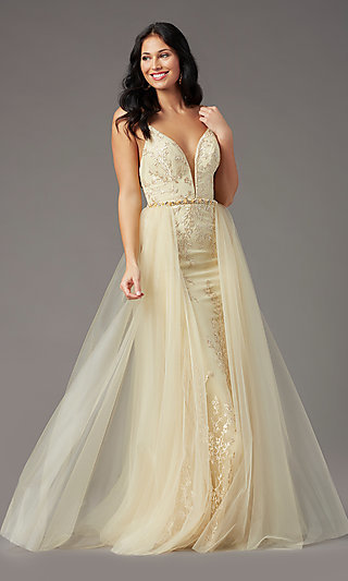 Long Embroidered Gold Prom Dress by PromGirl