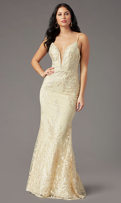 Image of long embroidered gold prom dress by PromGirl. Style: PG-Z20648 Detail Image 3