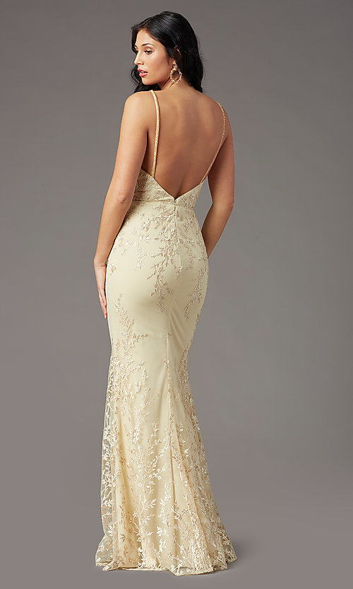 Image of long embroidered gold prom dress by PromGirl. Style: PG-Z20648 Back Image