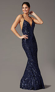 Image of navy long sequin trumpet prom dress by PromGirl. Style: PG-Z20628 Front Image