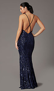 Image of navy long sequin trumpet prom dress by PromGirl. Style: PG-Z20628 Back Image