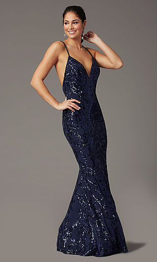Navy Long Sequin Trumpet Prom Dress by PromGirl