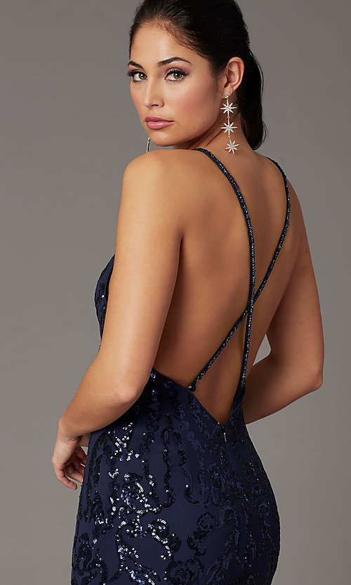 Image of navy long sequin trumpet prom dress by PromGirl. Style: PG-Z20628 Detail Image 2
