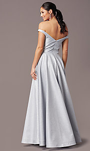 Image of silver glitter off-the-shoulder prom dress by PromGirl. Style: PG-Z20583 Back Image