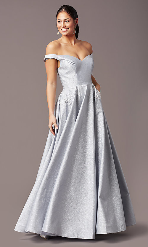 Image of silver glitter off-the-shoulder prom dress by PromGirl. Style: PG-Z20583 Detail Image 2