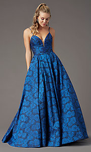 Image of long floral-print brocade prom dress by PromGirl. Style: PG-Z20566 Detail Image 3