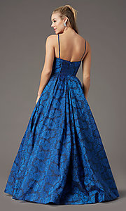 Image of long floral-print brocade prom dress by PromGirl. Style: PG-Z20566 Detail Image 4